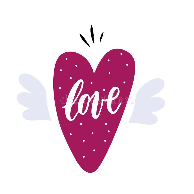 Corazón dibujado mano con las alas ilustración del vector