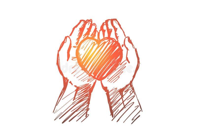 Corazón dibujado mano en palmas humanas stock de ilustración