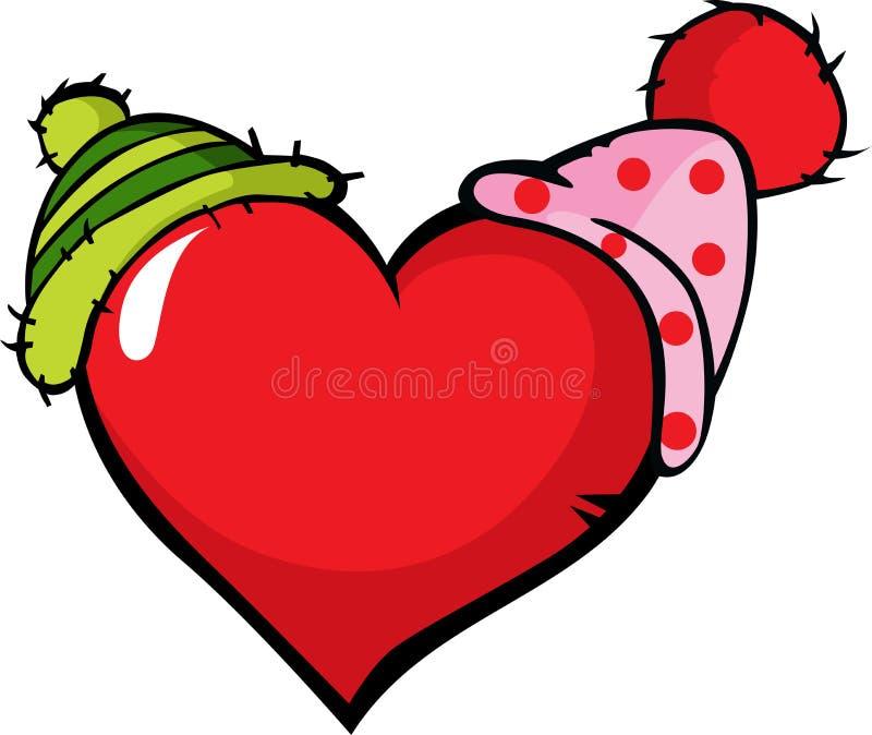 Corazón divertido con el casquillo dos - vector el ejemplo stock de ilustración