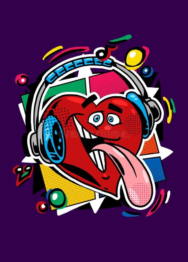 Corazón divertido en los auriculares que escuchan la música stock de ilustración