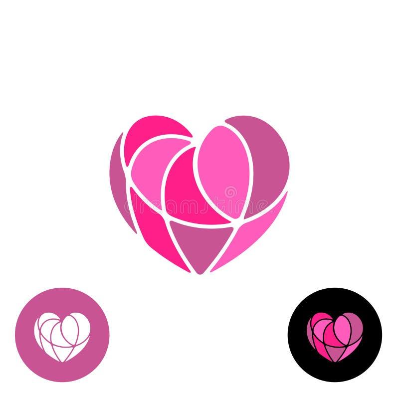 Corazón dividido con el logotipo elegante de los alambres finos ilustración del vector