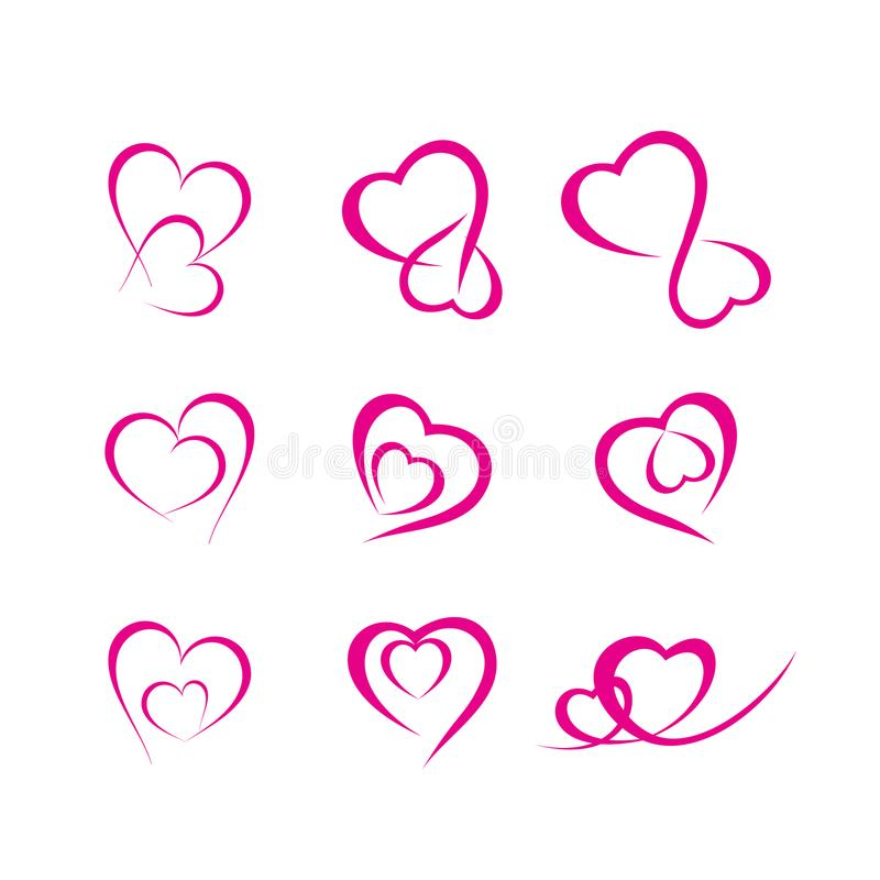 Corazón doble del vínculo de la tarjeta del día de San Valentín foto de archivo