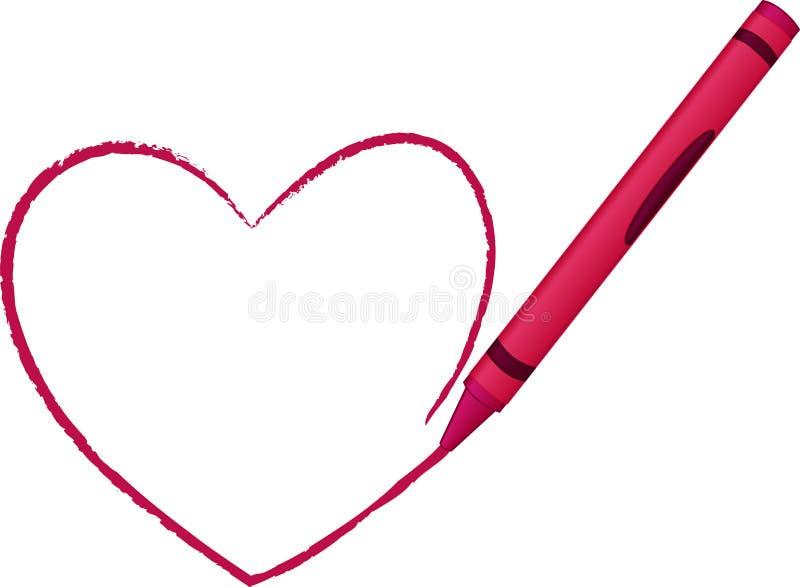 Corazón drenado creyón - ilustración del vector libre illustration