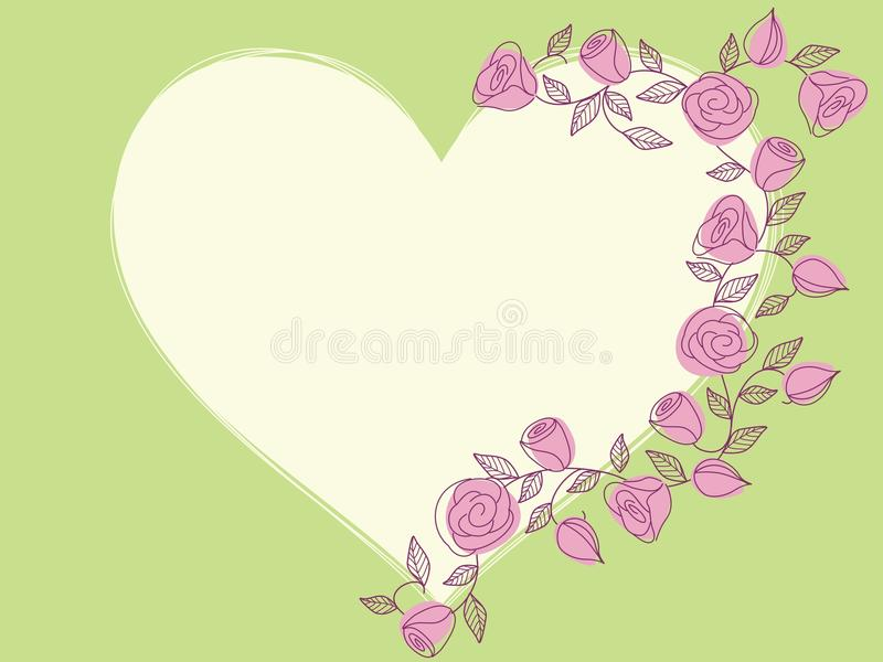 Corazón drenado mano de la primavera con las rosas ilustración del vector