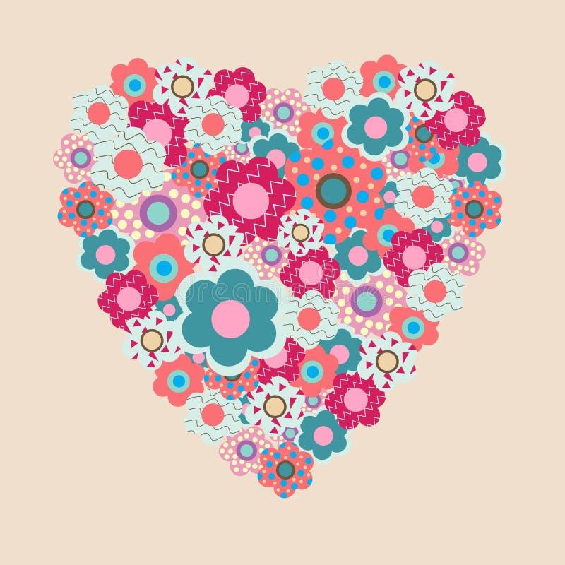 Corazón dulce de la tarjeta del día de San Valentín de las flores decorativas en un backgrou rosado ilustración del vector