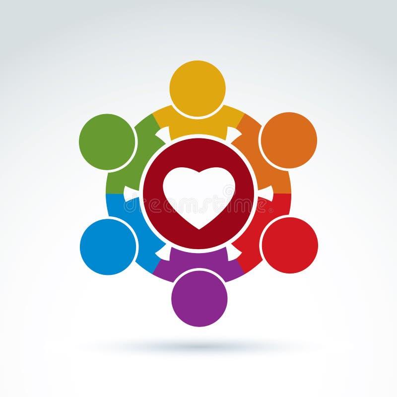 Corazón e icono social de la organización médica y de salud, vector co stock de ilustración