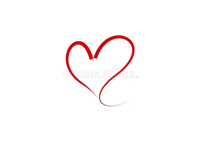 Corazón - ejemplo rojo estilizado del vector del esquema del extracto stock de ilustración