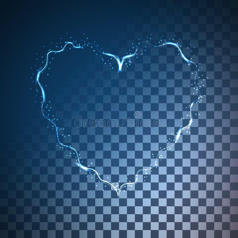 Corazón eléctrico mágico enérgico del extracto brillante hermoso en un fondo negro translúcido, oscuro, a cuadros de cuadrados stock de ilustración