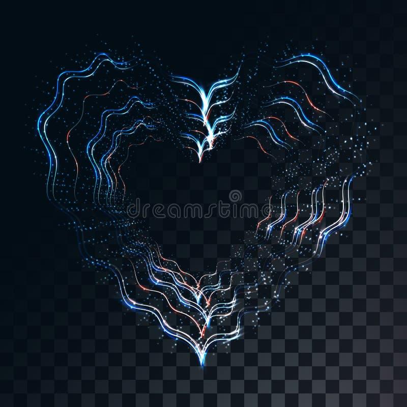 Corazón eléctrico mágico enérgico del extracto brillante hermoso en un fondo negro translúcido, oscuro, a cuadros de cuadrados ilustración del vector