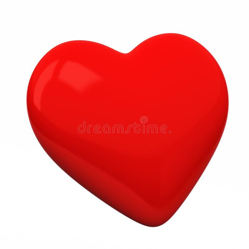 Corazón en blanco rojo, 3d stock de ilustración