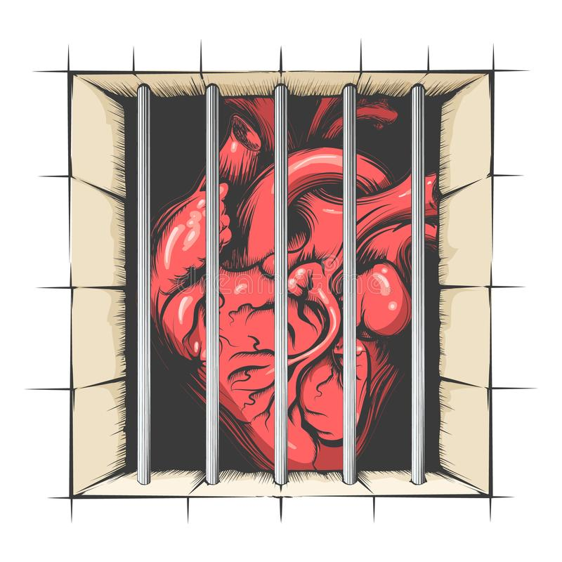 Corazón en cárcel ilustración del vector