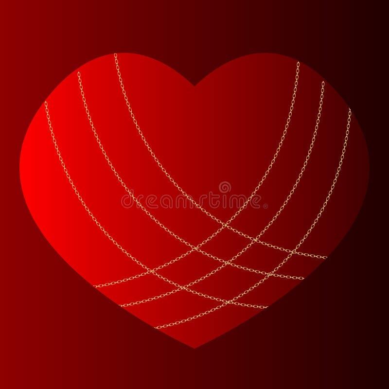 Corazón en cadenas o tarjeta Primer plano retro del corazón rojo en cadenas en fondo rosado Ornamento del día de San Valentín de  stock de ilustración