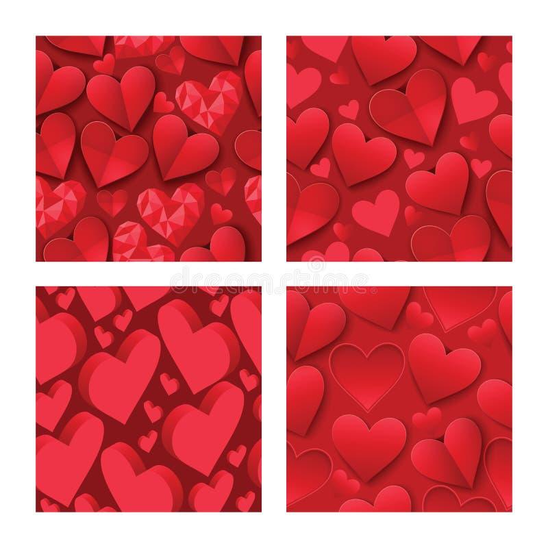 Corazón en día de San Valentín en muestra roja preciosa del vector inconsútil del modelo del amor en tarjeta hearted de la celebr stock de ilustración