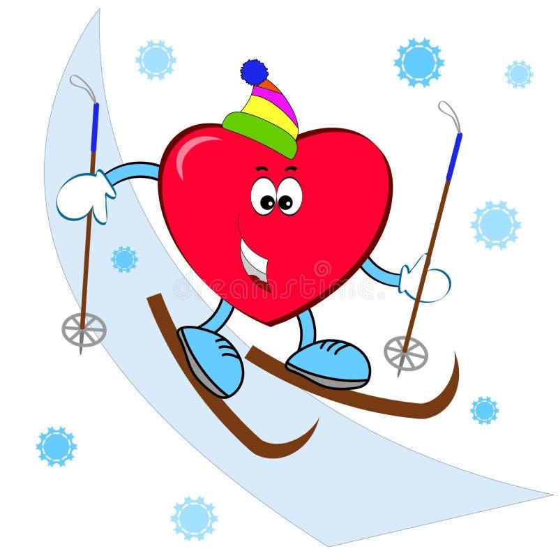 Corazón en el esquí fotos de archivo libres de regalías