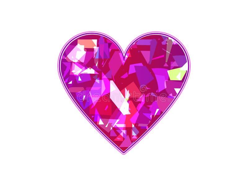 Corazón en el fondo blanco Caos geométrico, partículas rotas Símbolo del amor Vector ilustración del vector