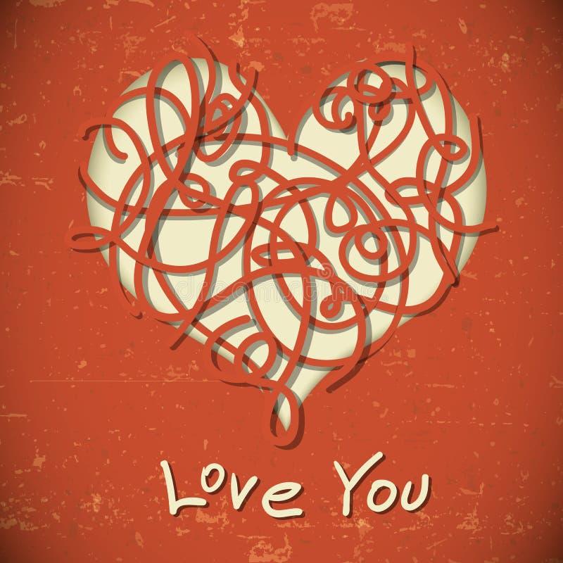 Corazón en estilo del vintage stock de ilustración