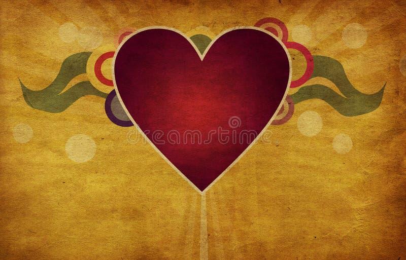 Corazón en fondo del grunge stock de ilustración