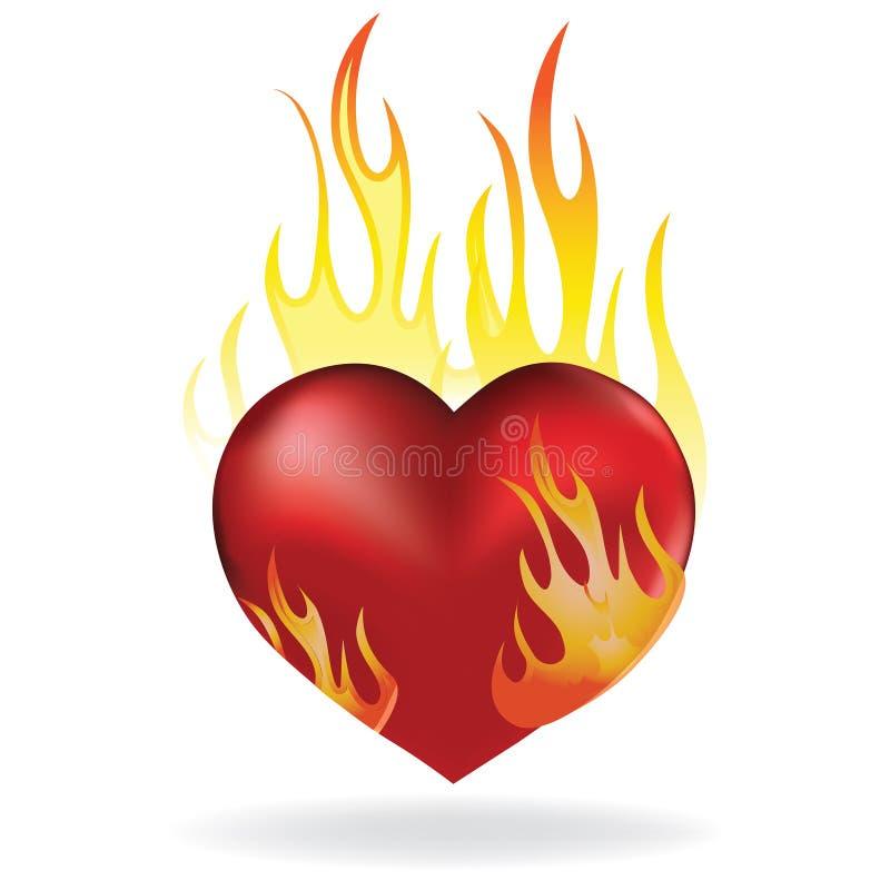 Corazón en fuego stock de ilustración