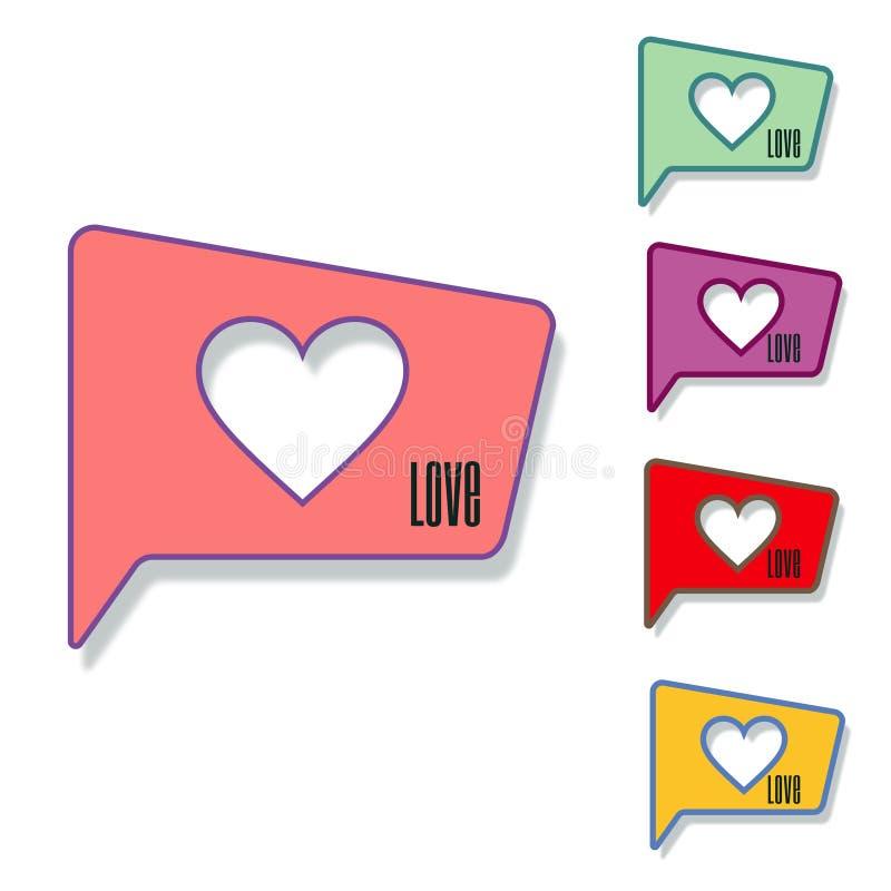 Corazón en icono de la burbuja del discurso Ilustración del vector imagenes de archivo