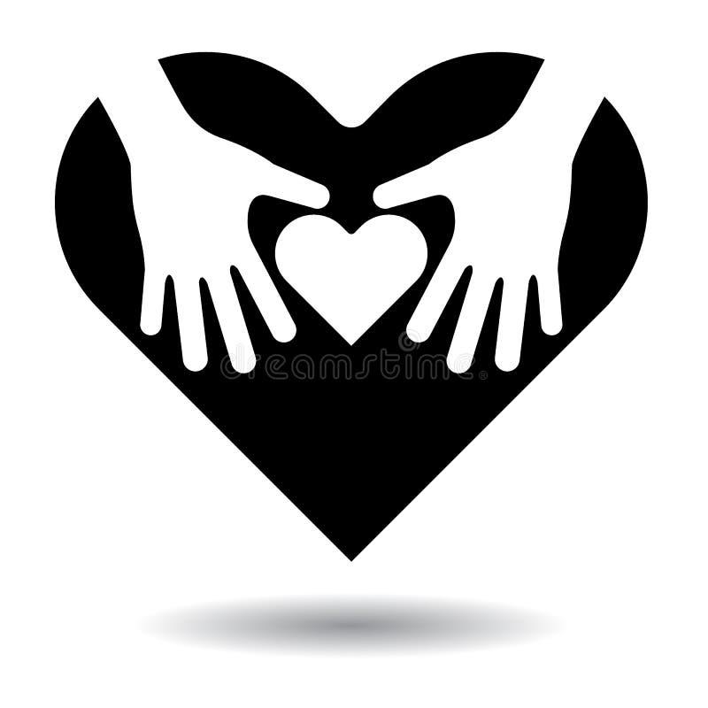 Corazón en icono de las manos stock de ilustración