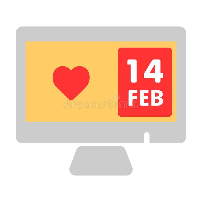 Corazón en icono del vector de la pantalla de la PC 14 de febrero o día de San Valentín Ejemplo de color en el fondo blanco libre illustration