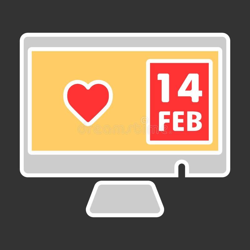 Corazón en icono del vector de la pantalla de la PC 14 de febrero o día de San Valentín Ejemplo de color en fondo negro ilustración del vector