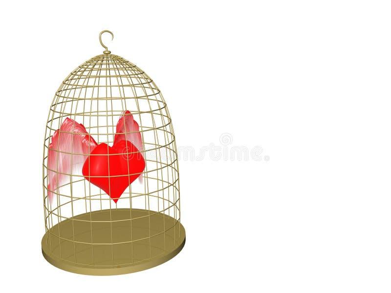 Corazón en jaula ilustración del vector