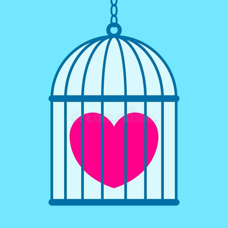 Corazón en jaula stock de ilustración
