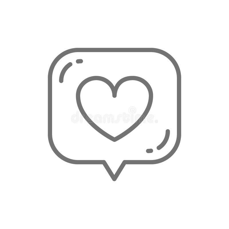 Corazón en la burbuja del discurso, gusto, línea icono de la retroalimentación positiva ilustración del vector