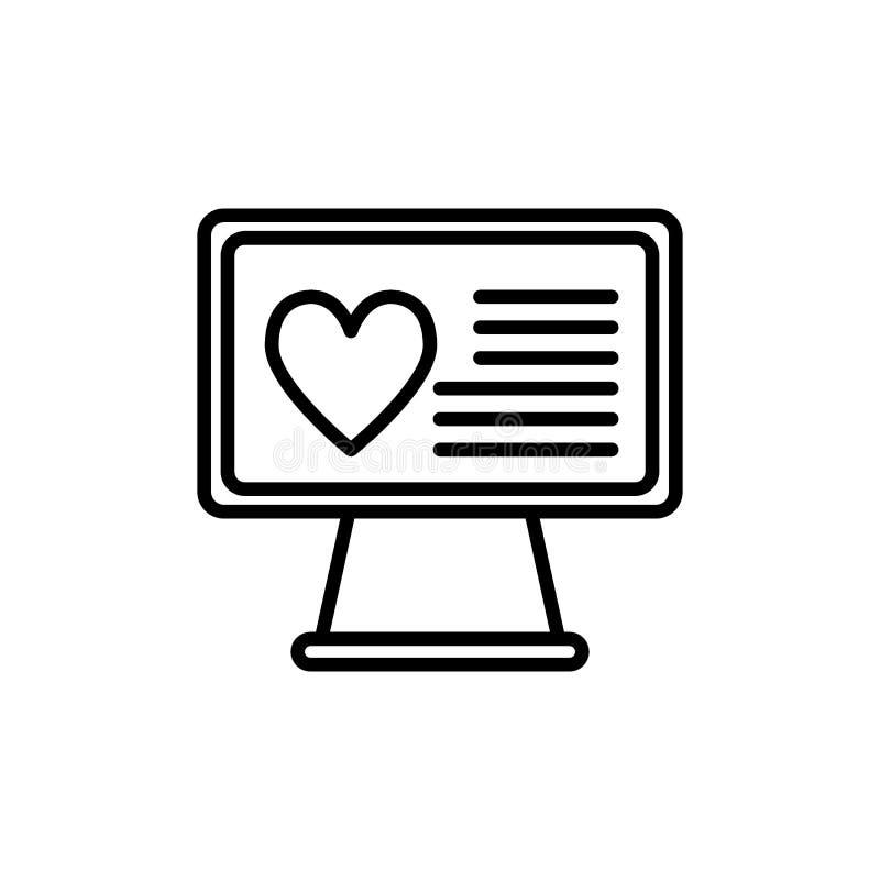 Corazón en la línea de escritorio icono Monitor con el ejemplo del vector del corazón aislado en blanco Corazón en estilo del stock de ilustración