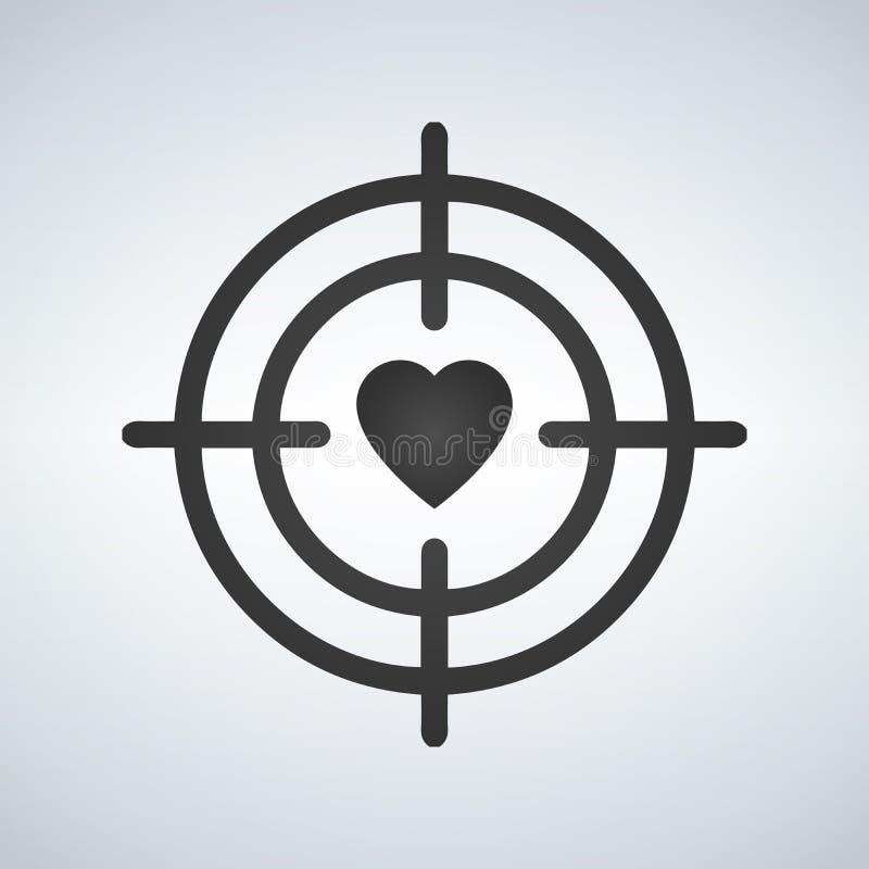 Corazón en la línea icono del objetivo de la blanco Símbolo de la datación del amor Muestra del día de tarjetas del día de San Va stock de ilustración