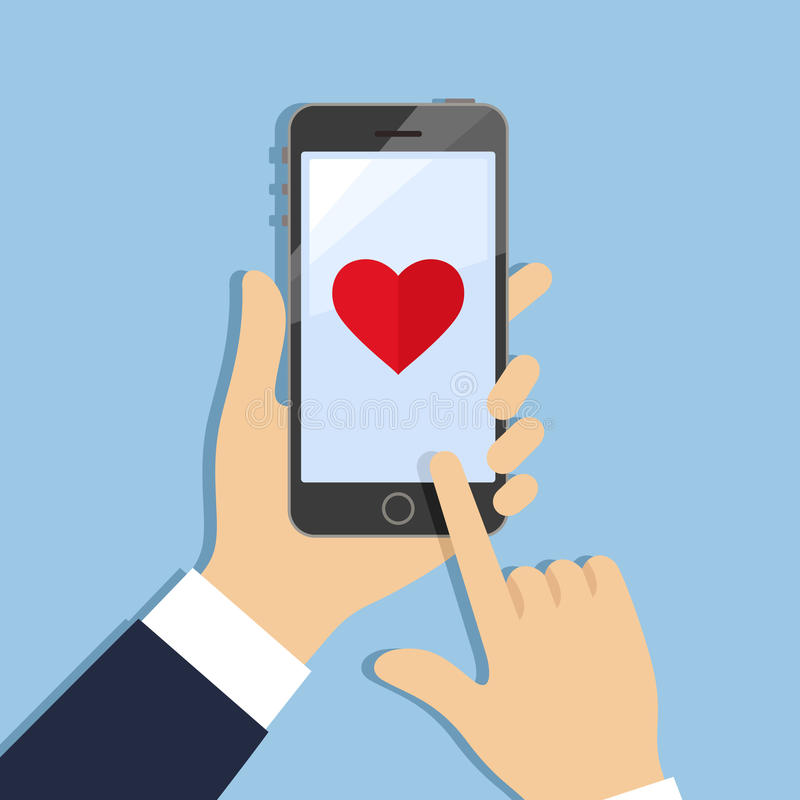 Corazón en la pantalla del teléfono ilustración del vector