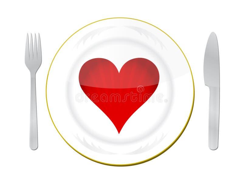 Corazón en la placa con la fork y el cuchillo stock de ilustración