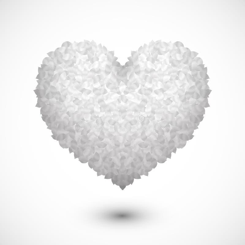 Corazón en las hojas blancas fotografía de archivo libre de regalías