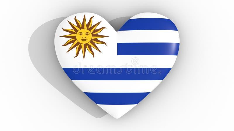 Corazón En Los Colores De La Bandera De Uruguay, En Un Fondo Blanco ...
