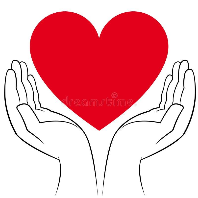 Corazón en manos humanas stock de ilustración