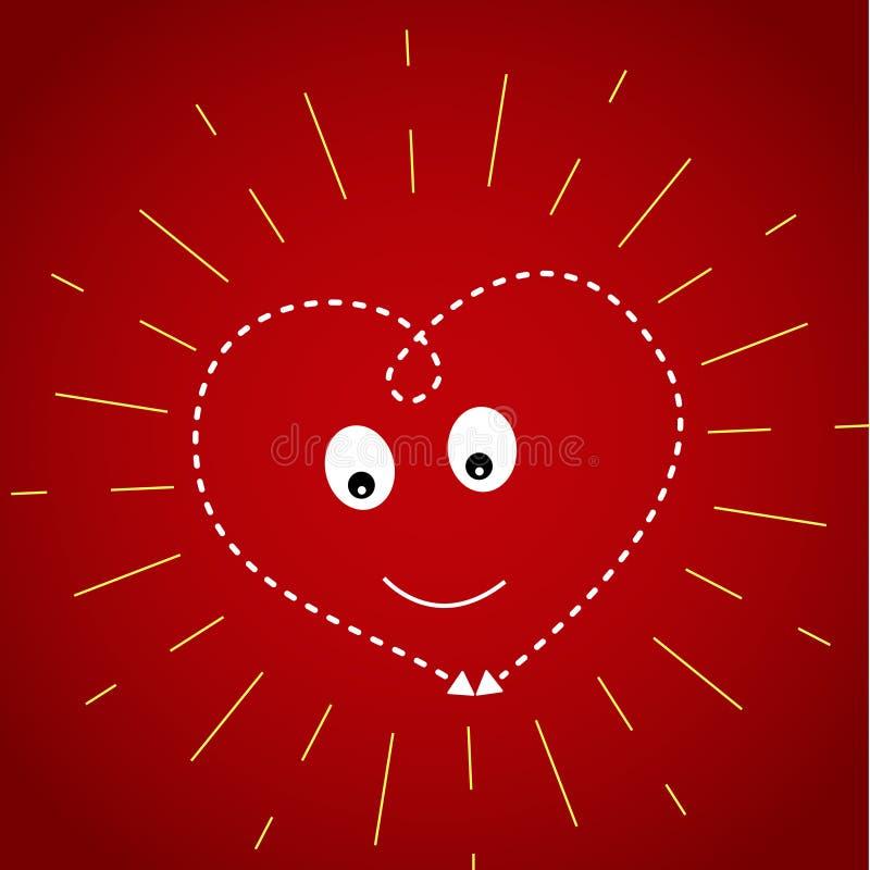 Corazón en un fondo rojo oscuro en los rayos amarillos del sol libre illustration