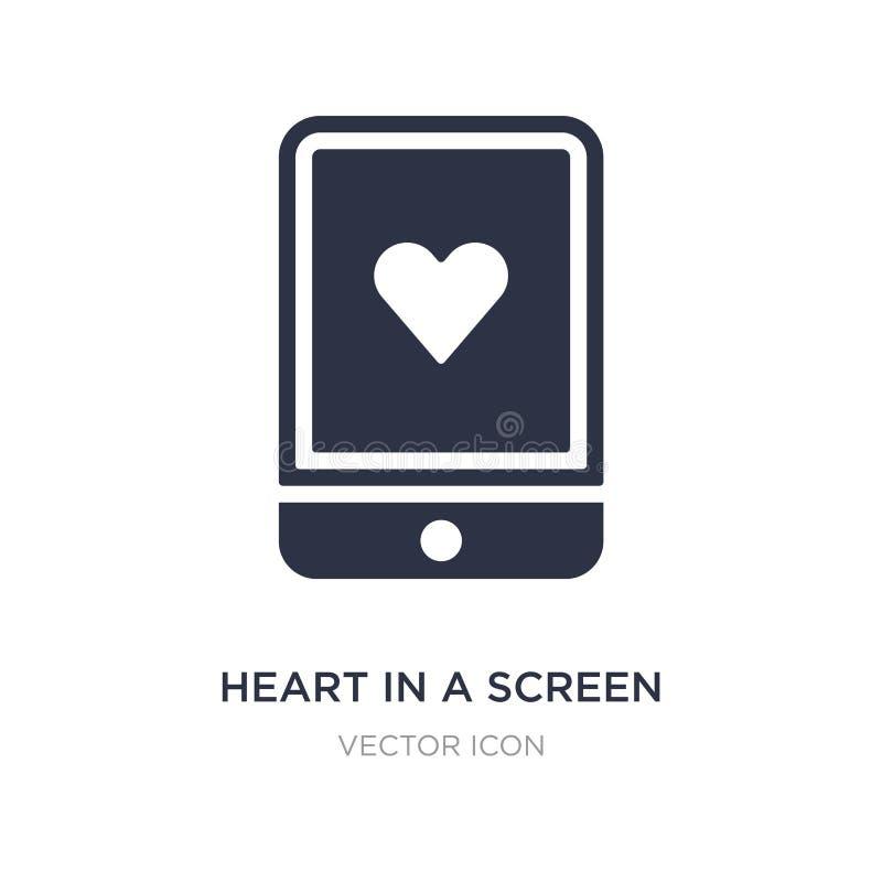 corazón en un icono de la pantalla en el fondo blanco Ejemplo simple del elemento del concepto de la tecnología libre illustration