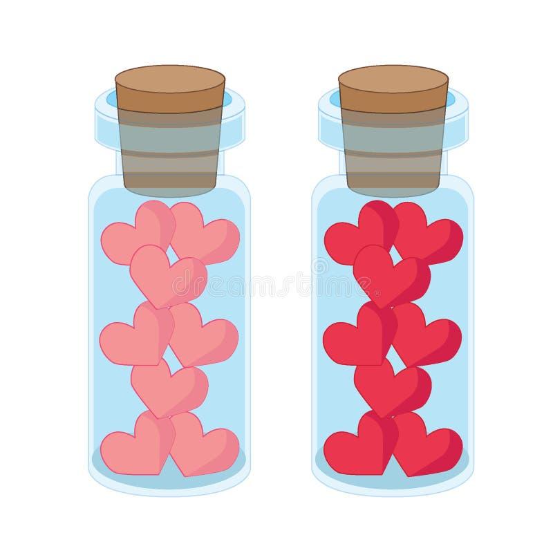 Corazón en una botella de cristal stock de ilustración