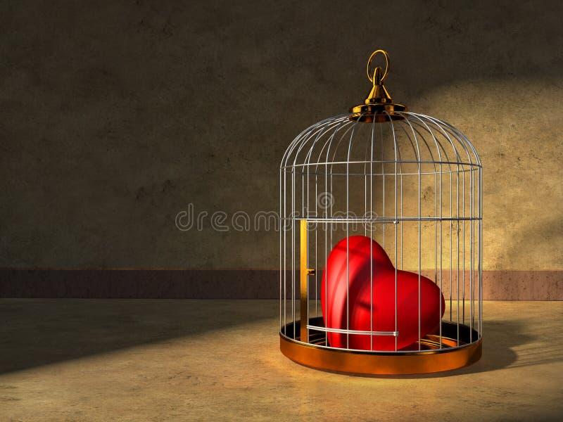 Corazón en una jaula stock de ilustración