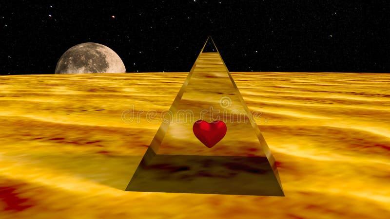 Corazón en una pirámide en un planeta del espacio. imagen de archivo