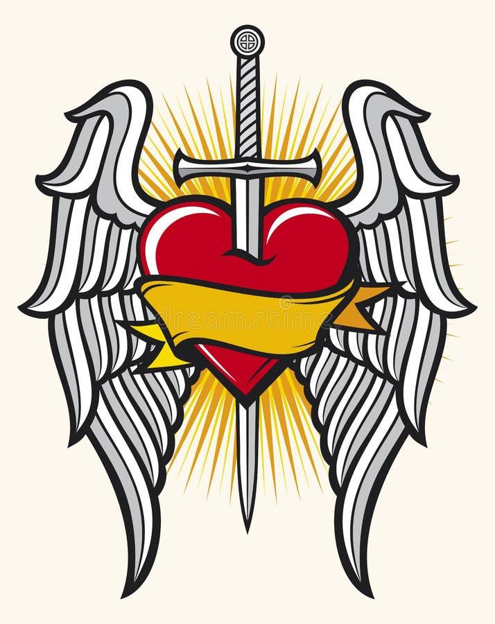 Corazón, espada y alas ilustración del vector