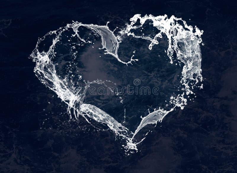 Corazón estilizado del agua blanca para el día de tarjeta del día de San Valentín feliz libre illustration