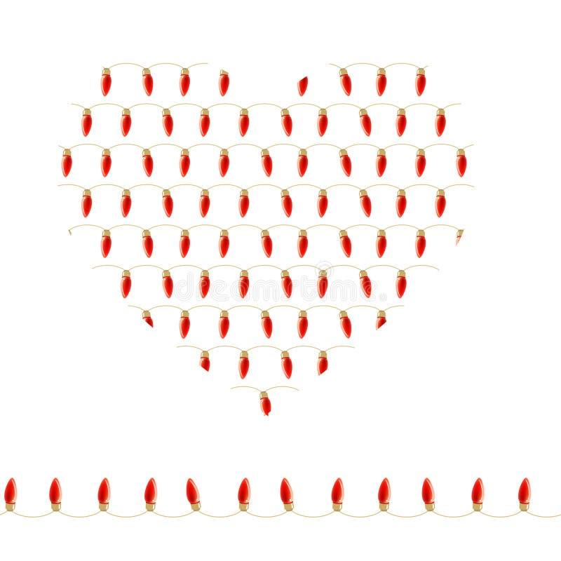 Corazón estilizado hecho de bulbos rojos Guirnalda horizontal inconsútil libre illustration