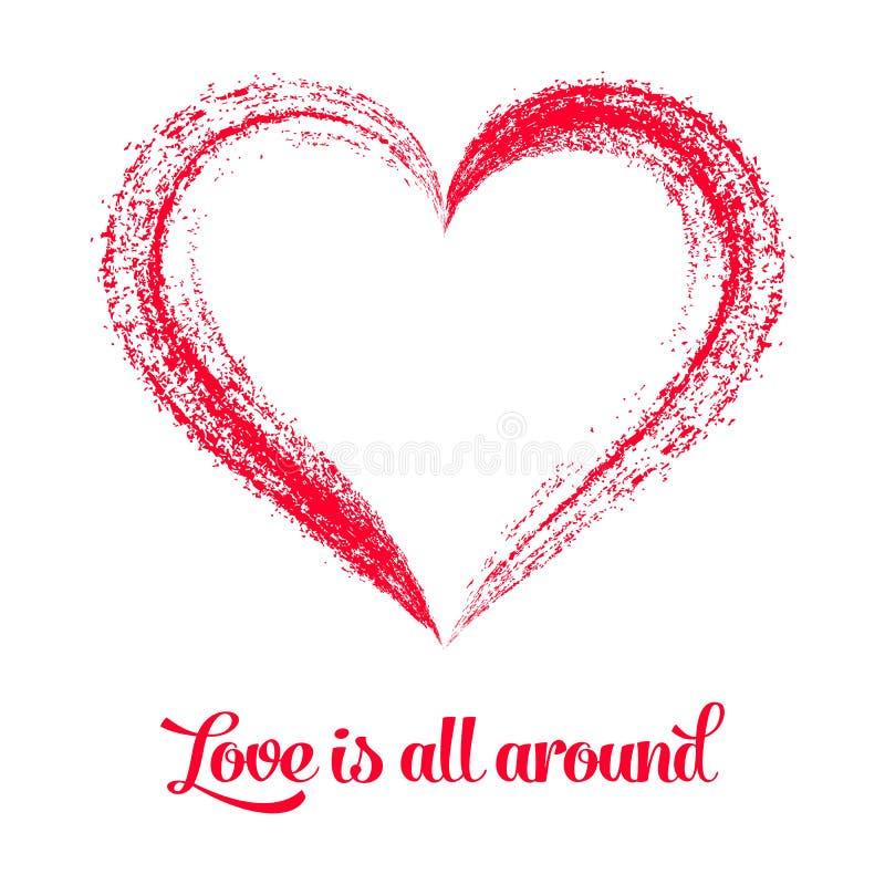 Corazón estilizado rojo en blanco libre illustration