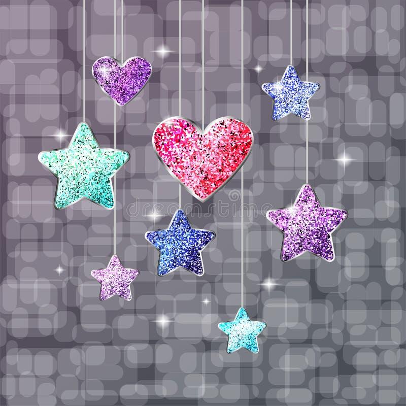 Corazón, estrellas y fondo brillante Postal o bandera en el día de fiesta stock de ilustración