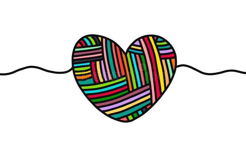 Corazón exhausto de la mano de las lanas del punto en estilo de la historieta Ilustración del vector stock de ilustración