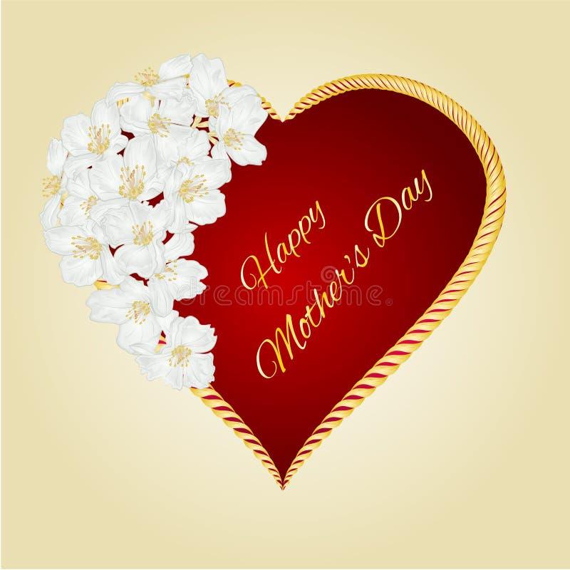 Corazón feliz del día de madres con vector del jazmín libre illustration
