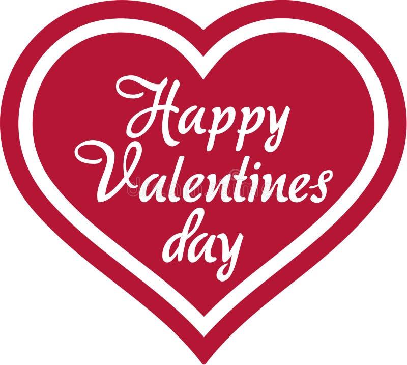 Corazón feliz del día de tarjetas del día de San Valentín stock de ilustración