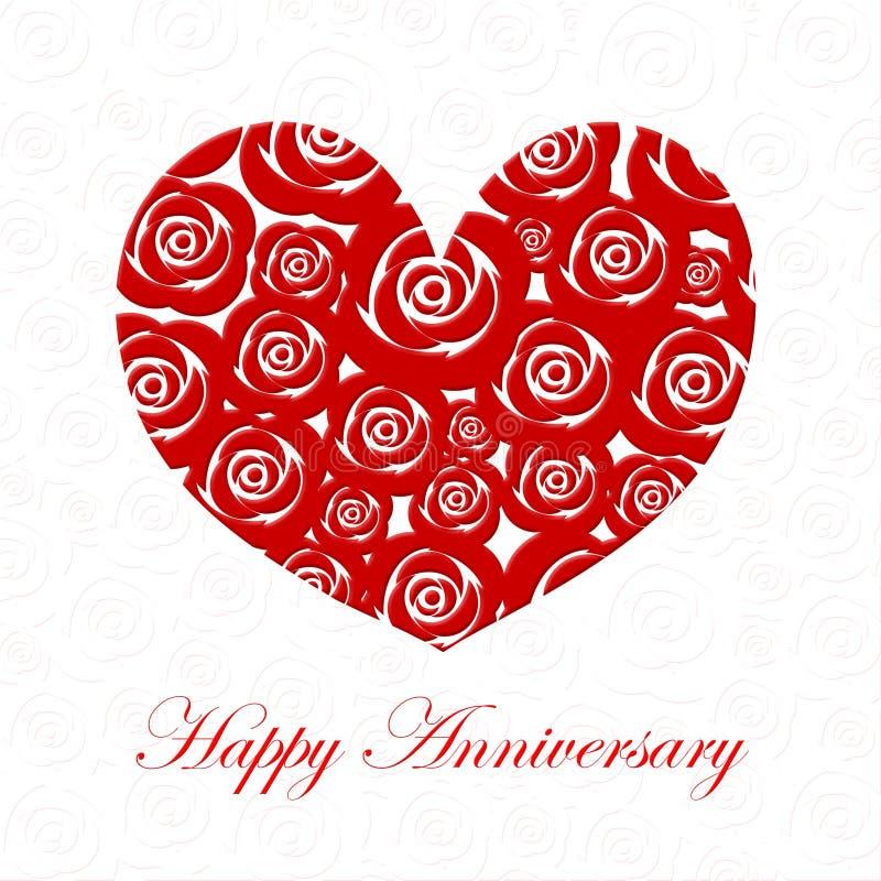 Corazón feliz del día del aniversario con las rosas rojas ilustración del vector
